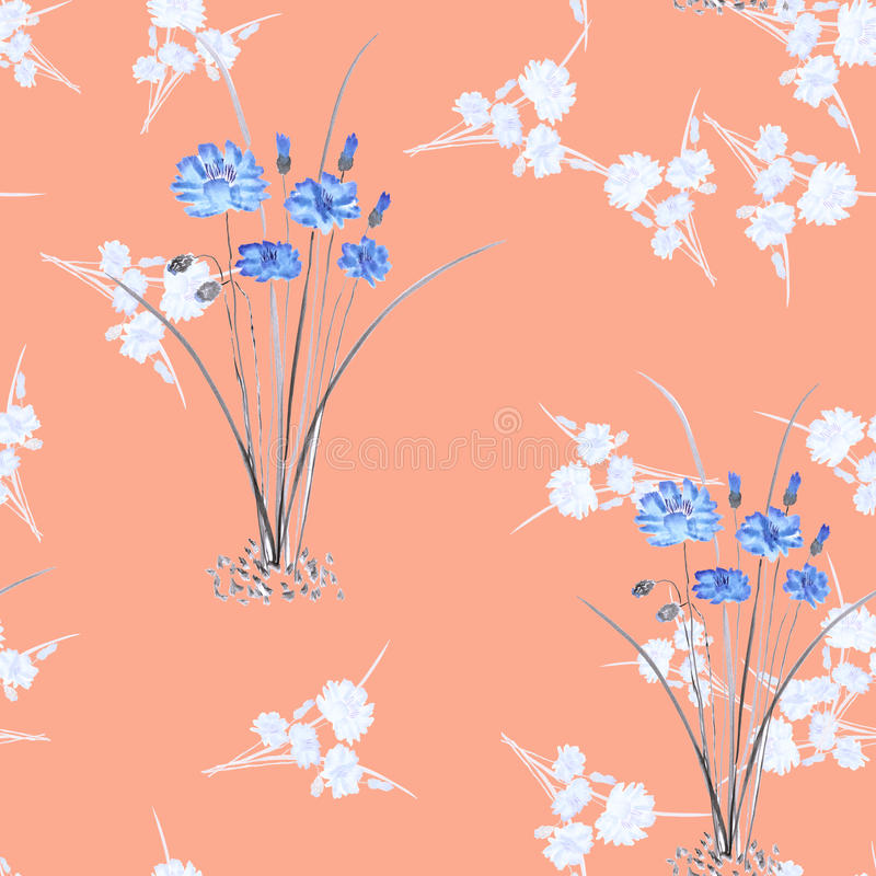 Seamless pattern of wild small white bouquets and two bushes blue flowers on a pink background. Watercolor. royalty free stock photography