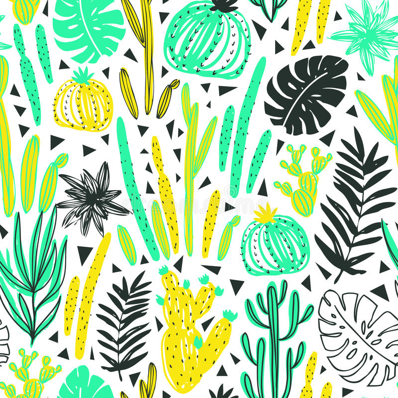 Seamless pattern with wild tropical rainforest. Tropic vector repeating background. royalty free illustration
