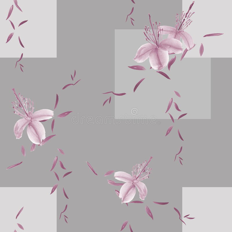 Seamless pattern of wild violet flowers and leaves on a gray background with geometric figures. Watercolor royalty free illustration