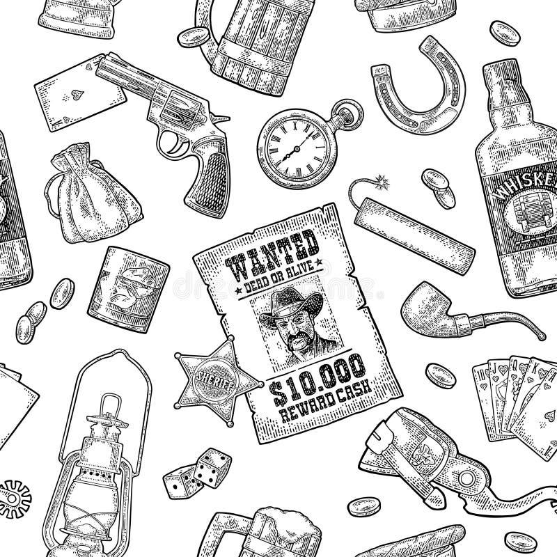 Seamless pattern Wild West. Vector vintage engraving black illustration vector illustration