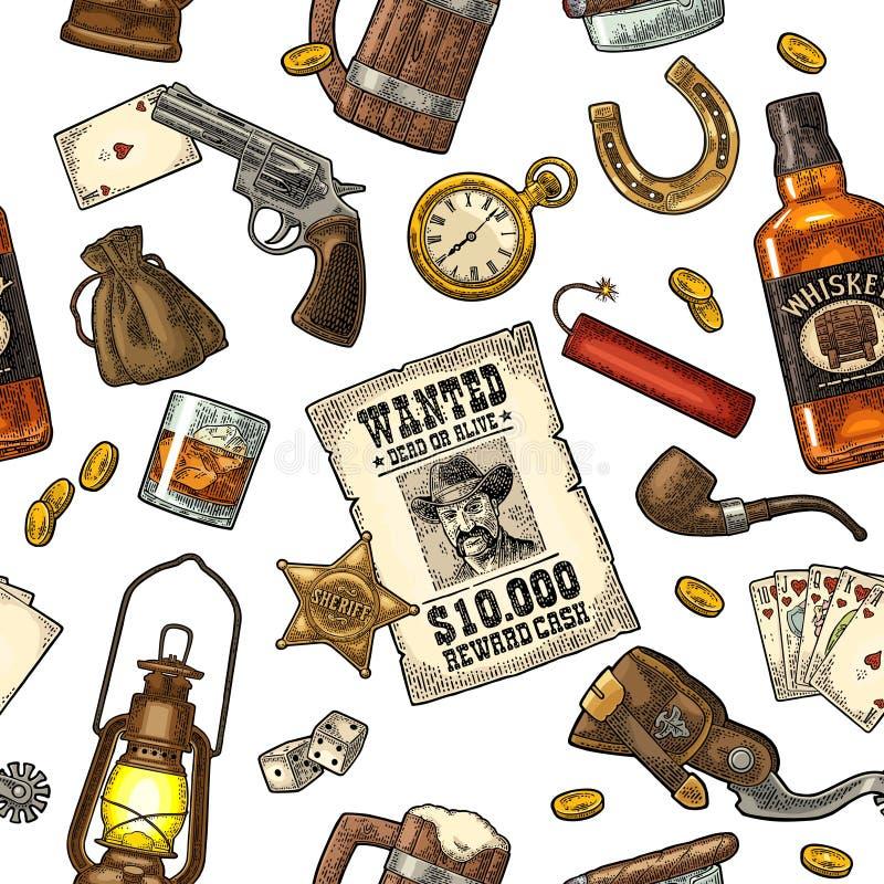 Seamless pattern Wild West. Vector vintage engraving color illustration vector illustration
