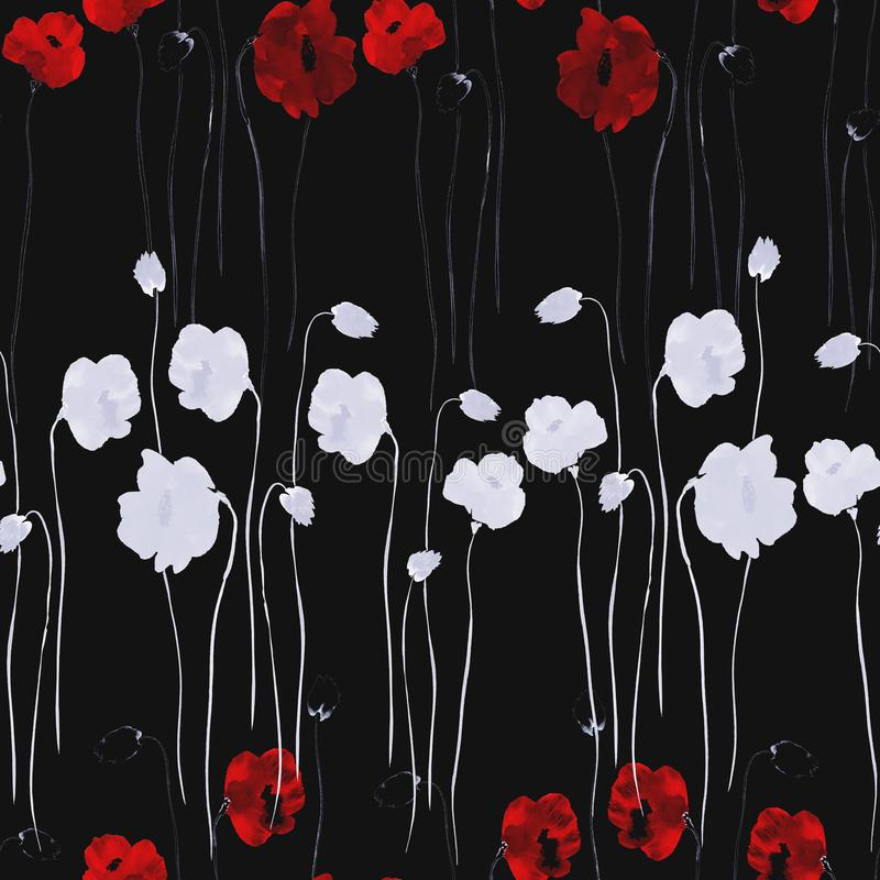 Seamless pattern of white and deep red flowers of poppy on the black background. Watercolor - 2 royalty free illustration