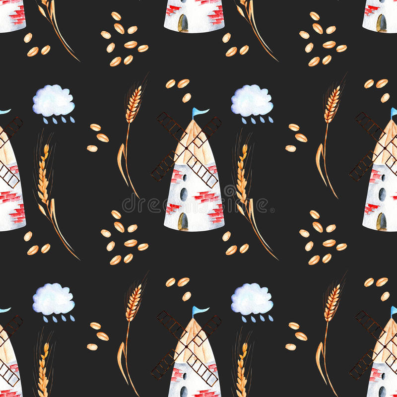 Seamless pattern with windmills, wheat spikelets and grains vector illustration