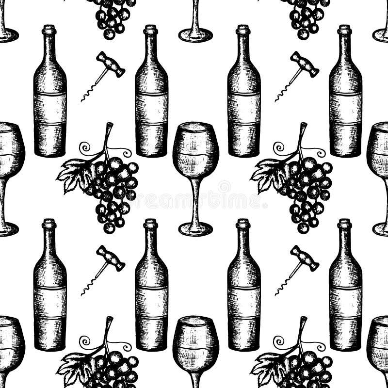 Seamless pattern of wine set. Vector illustration, wine set, hand drawn sketch of wine symbols. Bottle, wineglass, grapes, corkscrew, seamless pattern, black vector illustration
