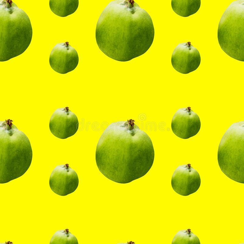 Seamless pattern of green apples on yellow background. Seamless pattern of winter apples on yellow background, green, food, fruit, juicy, design, fresh, natural stock photos
