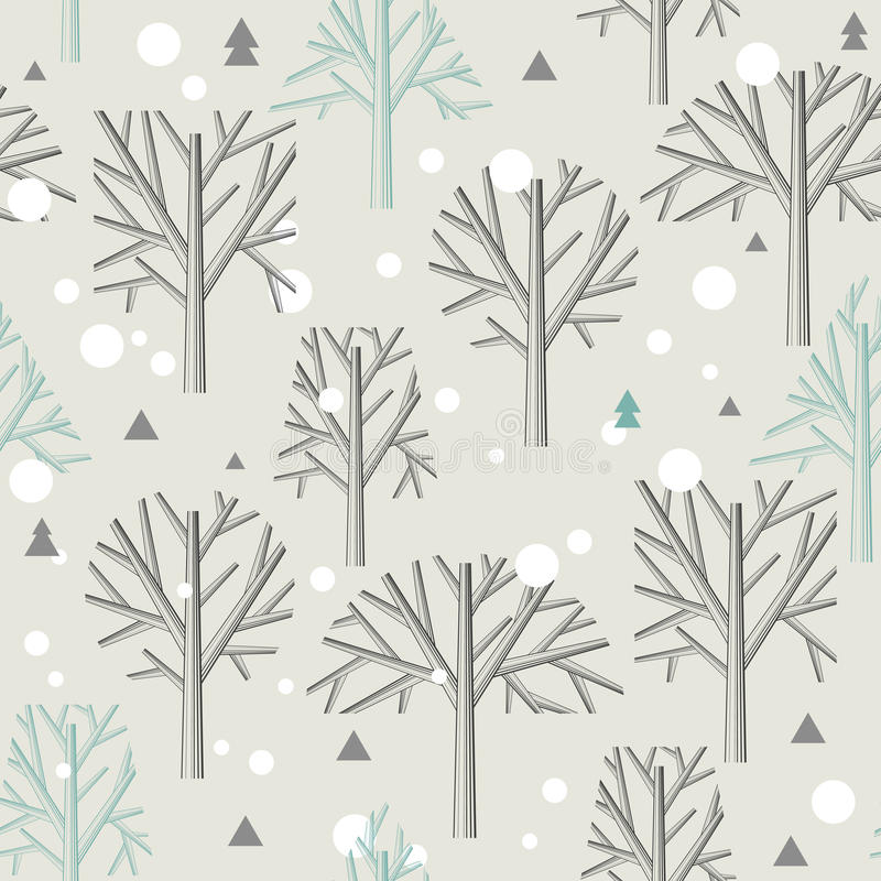Seamless pattern for Winter forest and christmas stock illustration