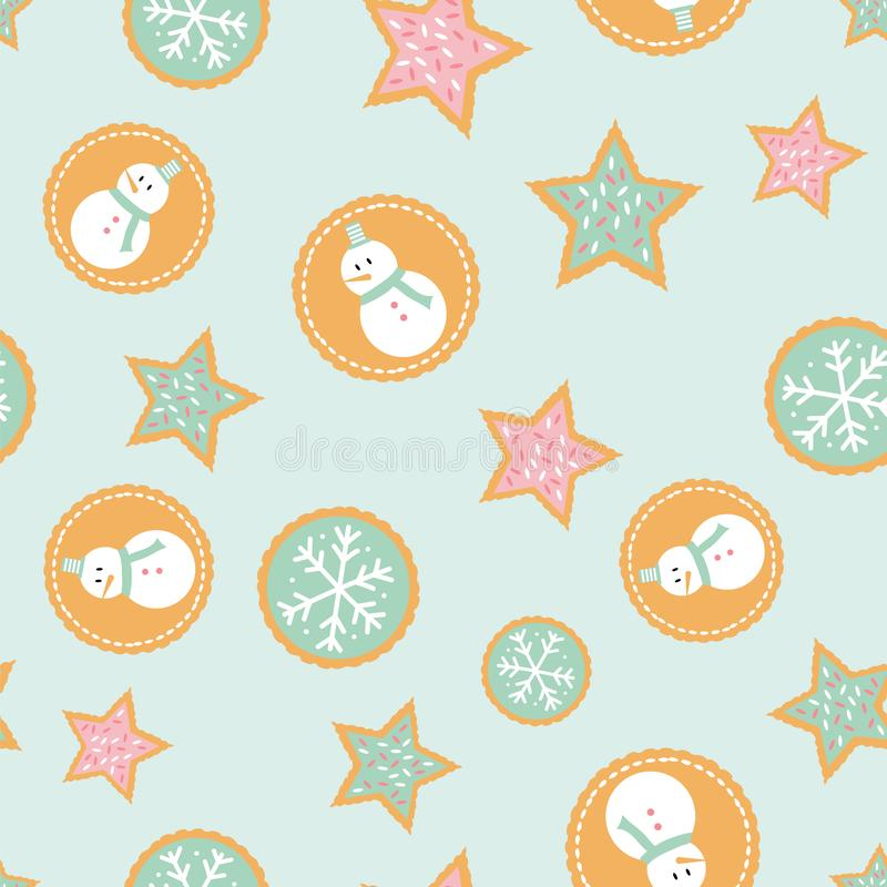 Seamless pattern of winter holiday cookies with snowmen, snowflakes, and stars a mint green background. royalty free illustration