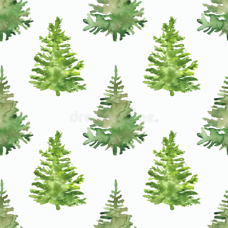 Seamless pattern for winter holidays design. Seamless pattern with christmas tree for winter holidays design, watercolor illustration vector illustration