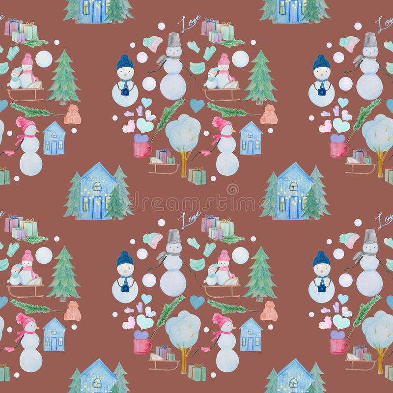 seamless pattern with winter houses and snowmen with colored pencils vector illustration
