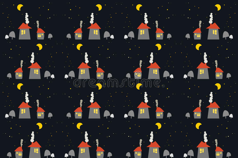 Seamless pattern of winter houses royalty free illustration