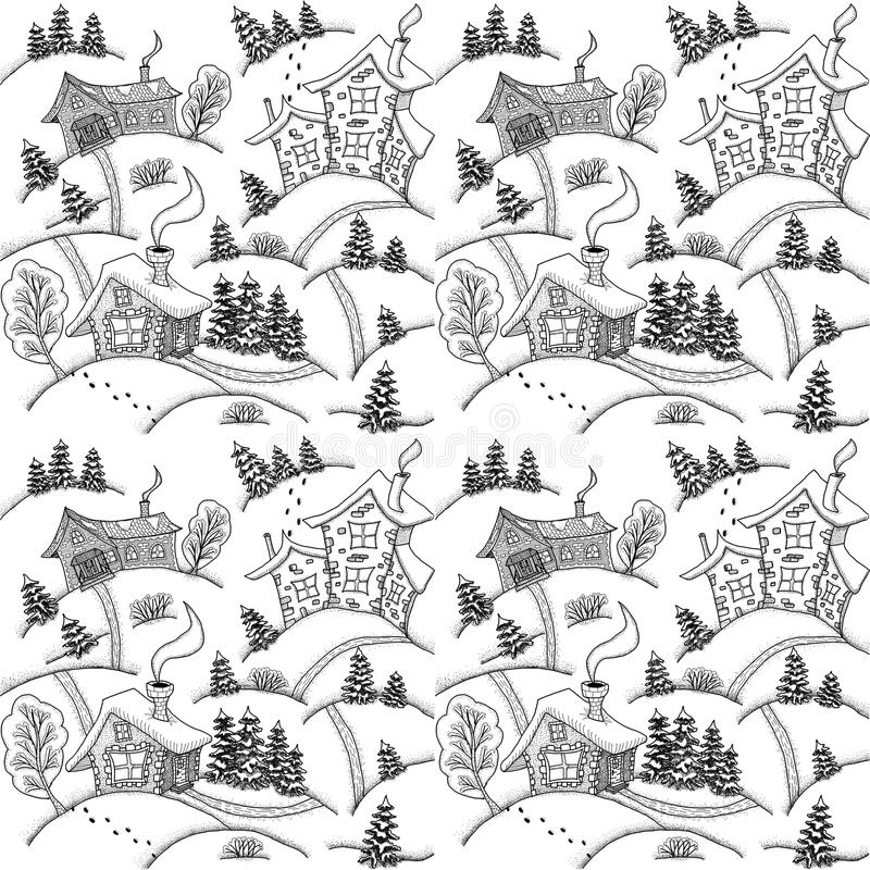 Seamless pattern. Winter landscape with houses and trees royalty free stock photos