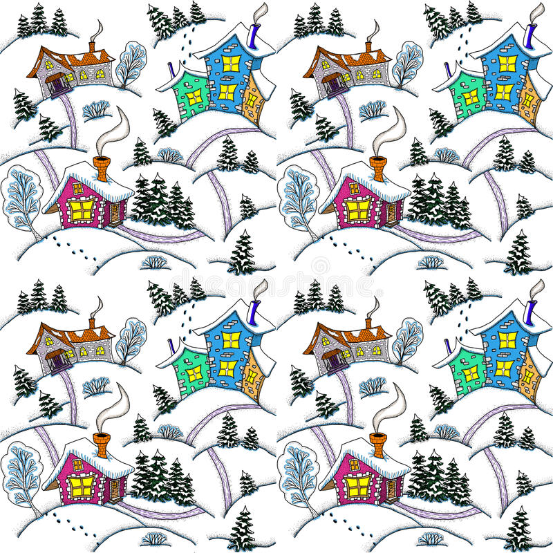 Seamless pattern. Winter landscape with houses and trees stock photo