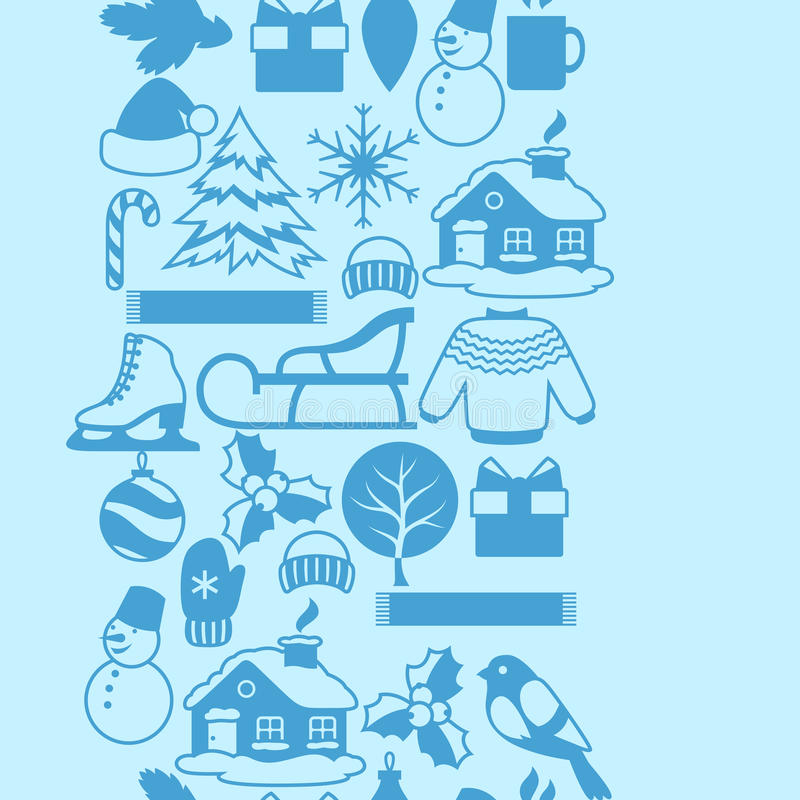 Seamless Pattern With Winter Objects Merry Christmas Happy New