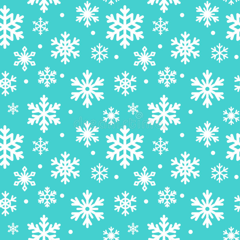 Seamless pattern of winter snowflakes, vector background. Repeated texture, surface, wrapping paper. Cute blue snow stock illustration