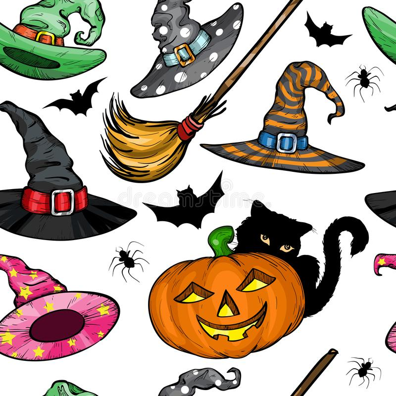 Seamless pattern with Witch hats, Halloween pumpkin, black cat and broom stock illustration