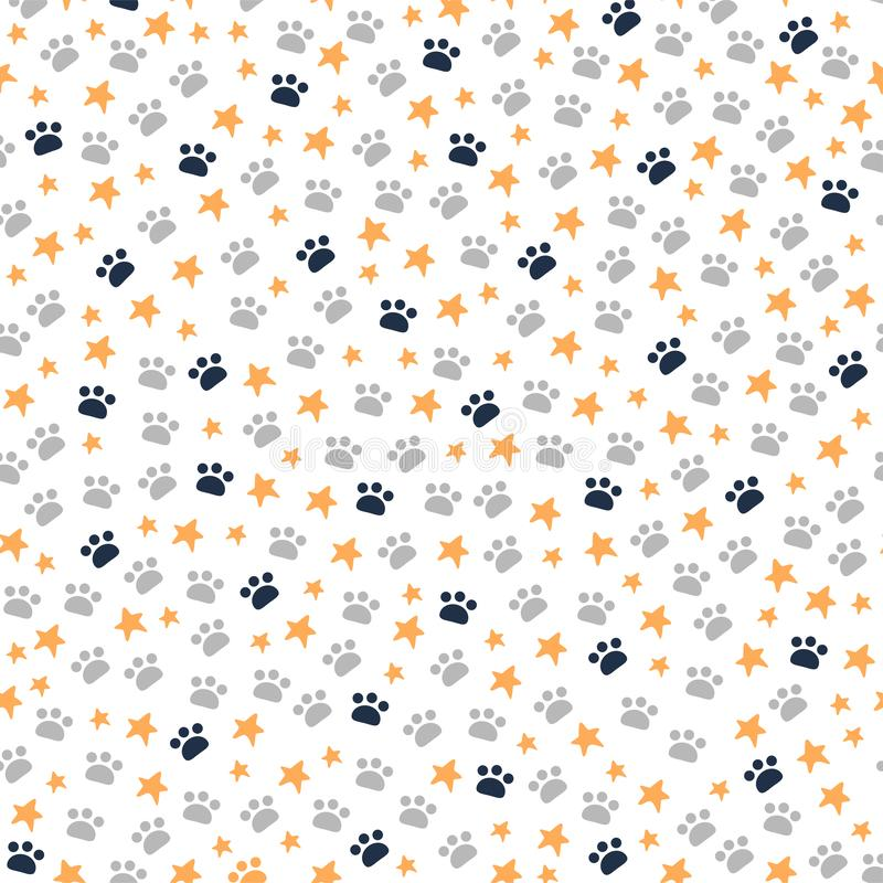Free Seamless Pattern With Animal Paws Trace And Stars Isolated On White Background. Royalty Free Stock Photography - 163770817