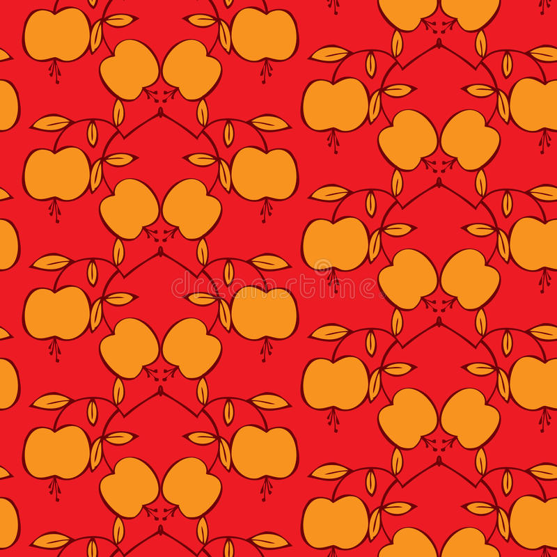Free Seamless Pattern With Apples On A Red Background Royalty Free Stock Photo - 27041835
