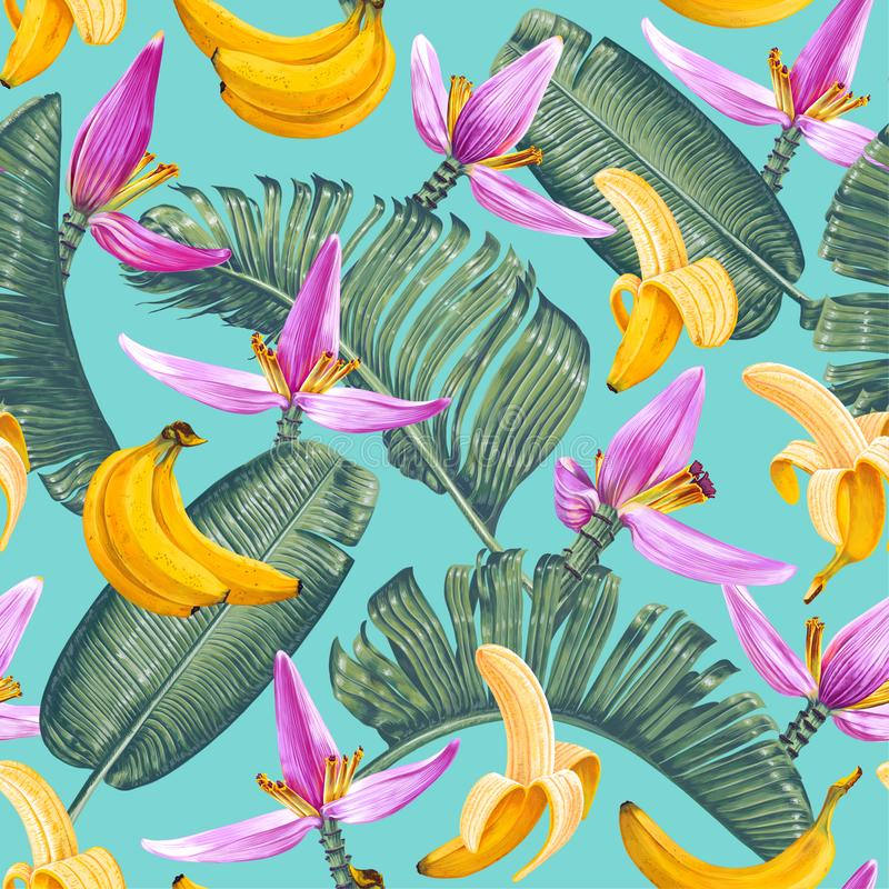Free Seamless Pattern With Banana Leaves, Fruits And Flowers In Realistic Style With High Details. Stock Photos - 154285693