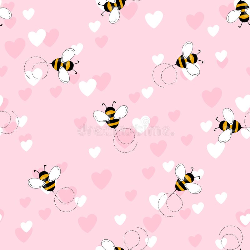Free Seamless Pattern With Bees And Hearts On Color Background. Small Wasp. Vector Illustration. Adorable Cartoon Character Royalty Free Stock Images - 219888349