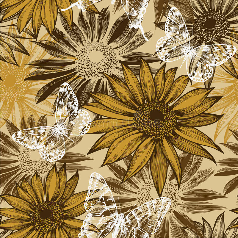 Free Seamless Pattern With Blooming Sunflowers And Flyi Royalty Free Stock Images - 27319109