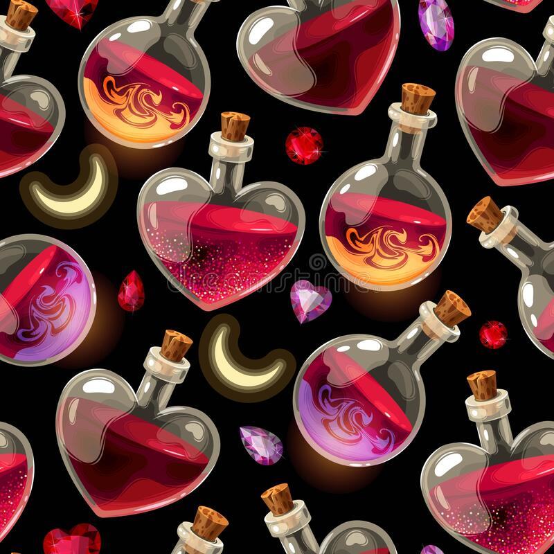 Free Seamless Pattern With Bottles Of Love Potion Royalty Free Stock Photo - 169286065