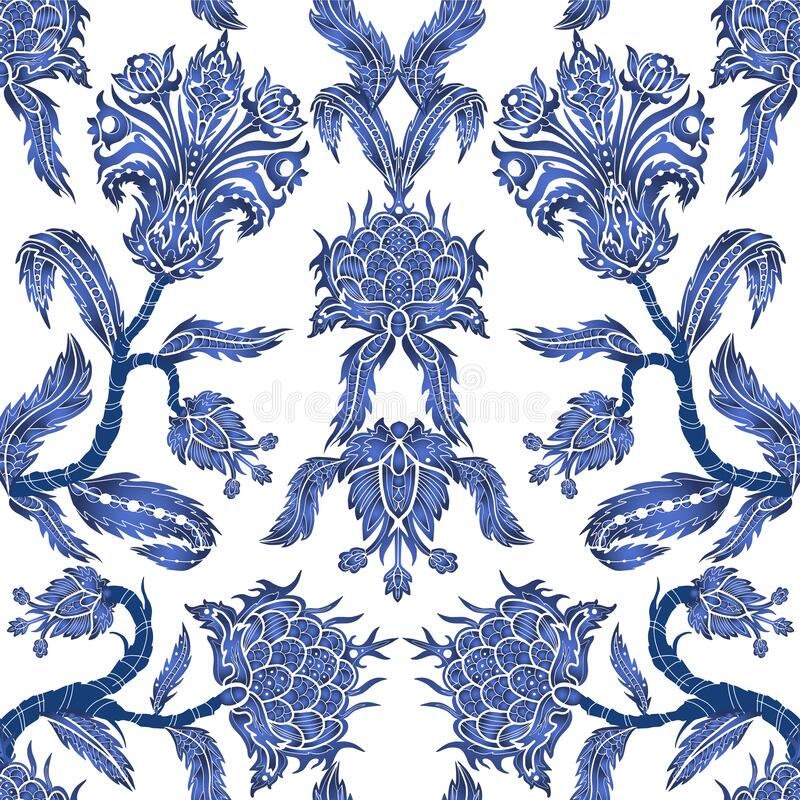 Free Seamless Pattern With Branches Flowers In Chinoiserie Style. Japanese Blue Ceramic Print. Stock Photography - 172017442