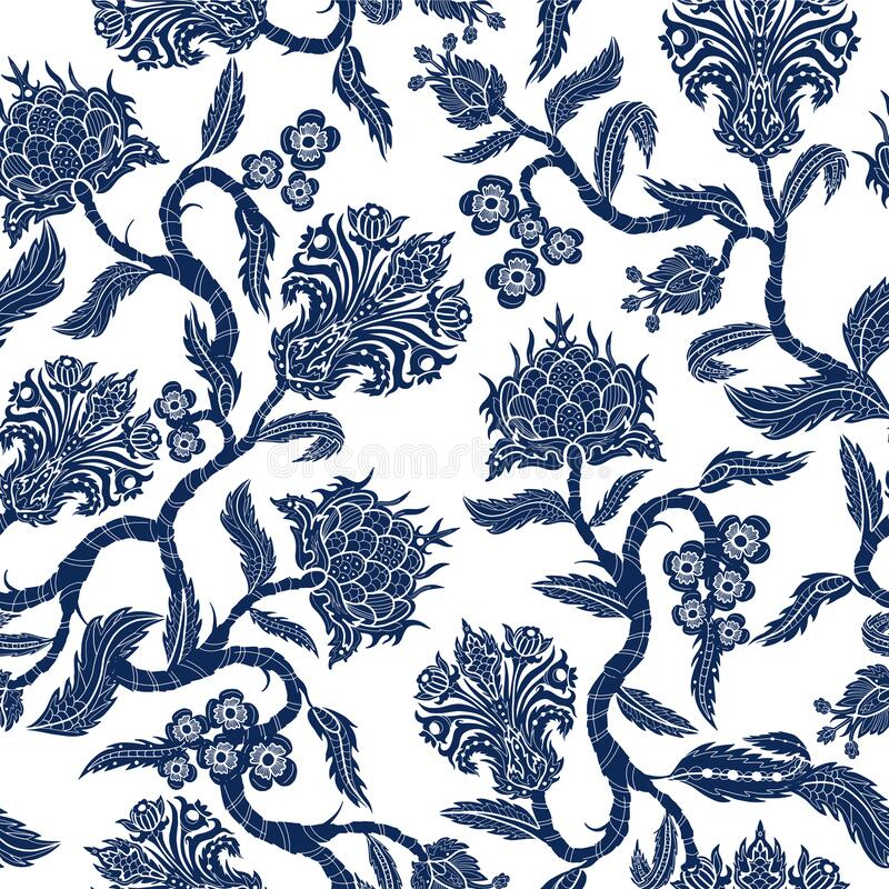 Free Seamless Pattern With Branches Flowers In Chinoiserie Style. Japanese Blue Ceramic Print. Stock Image - 172017611