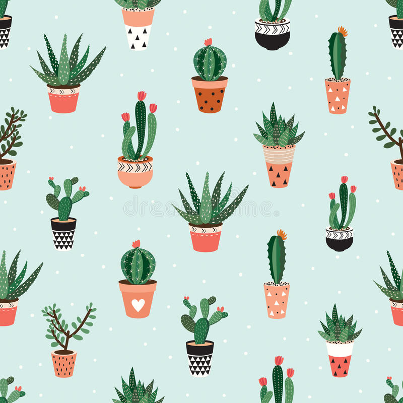Free Seamless Pattern With Cacti And Succulents Stock Image - 76733951