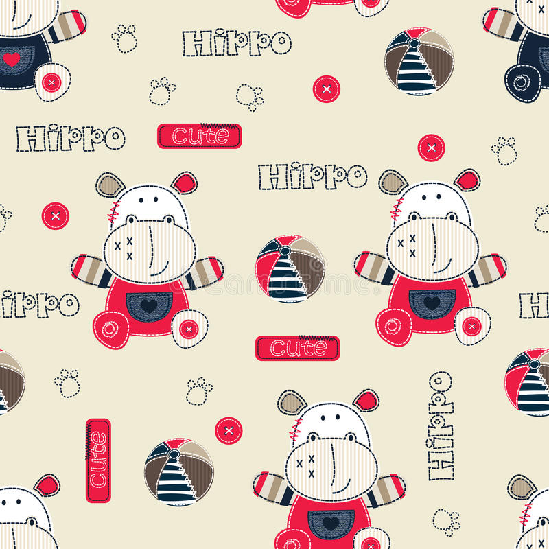 Free Seamless Pattern With Cartoon Hippo Stock Images - 69424134