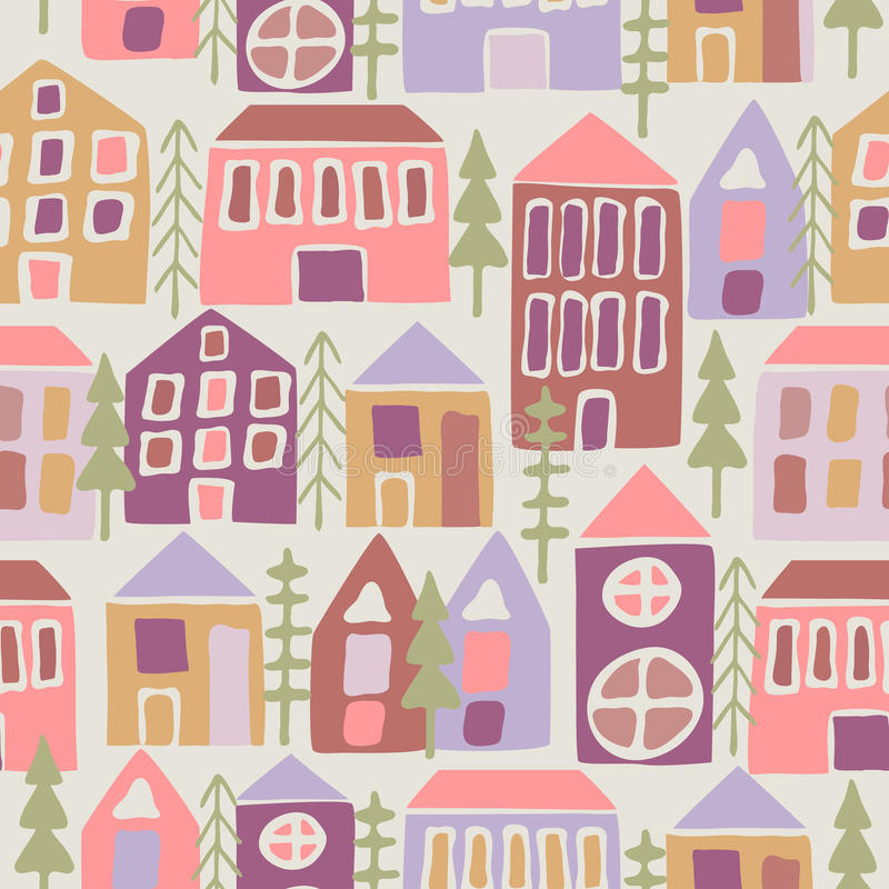 Free Seamless Pattern With Cartoon Houses Royalty Free Stock Photography - 68475097