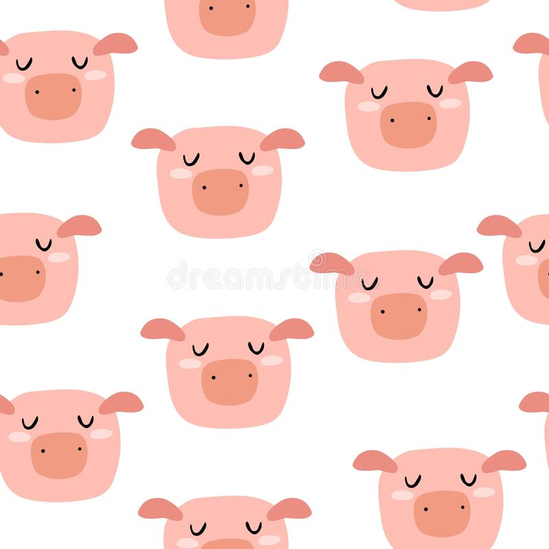Free Seamless Pattern With Cartoon Pigs. Flat Colorful Vector For Kids. Hand Drawing. Animals. Stock Images - 220255274