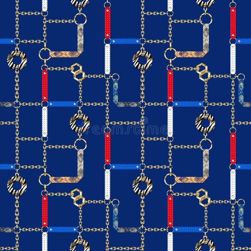 Free Seamless Pattern With Chains, Straps And Decorative Elements On Blue Background. Royalty Free Stock Image - 142832146