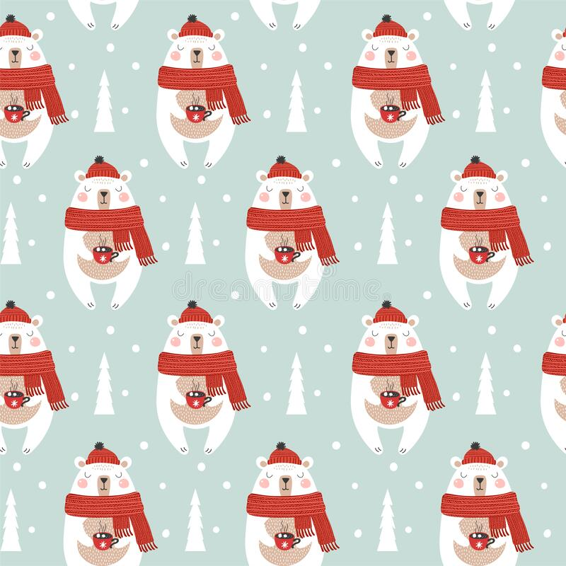Free Seamless Pattern With Christmas Bear. Winter Pattern. Vector Royalty Free Stock Image - 198808766