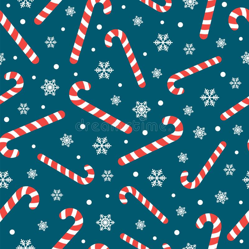 Free Seamless Pattern With Christmas Candy Cane Caramel And Snowflakes, Endless Background, Repeating Texture Royalty Free Stock Images - 164537169