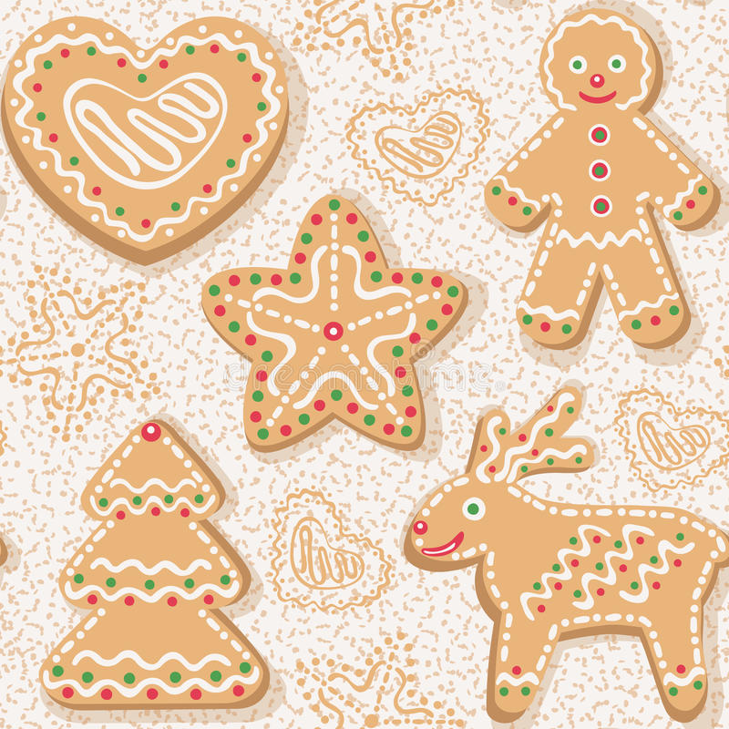 Free Seamless Pattern With Christmas Ginger Cookies Stock Images - 48104624