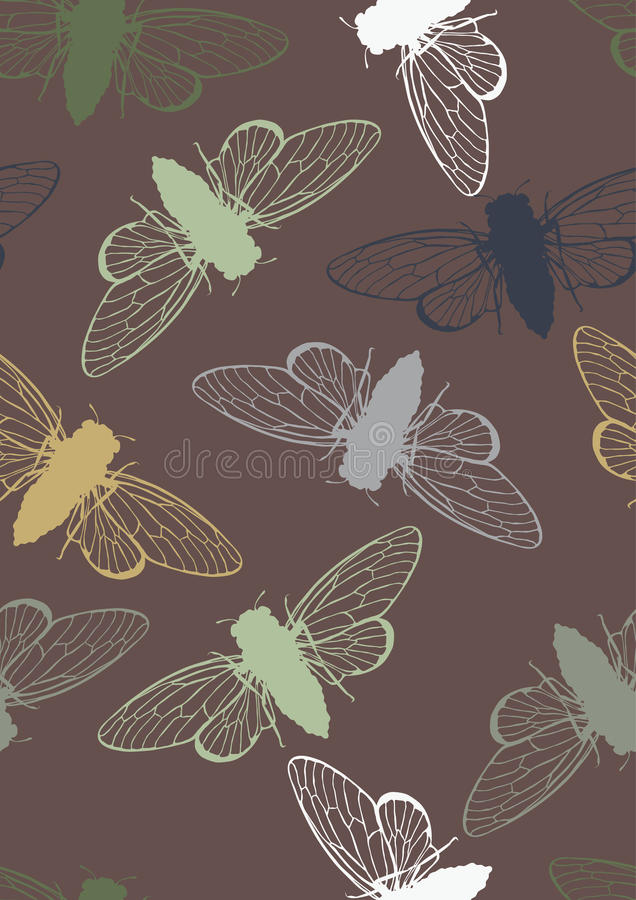 Free Seamless Pattern With Cicadas Stock Images - 21036964