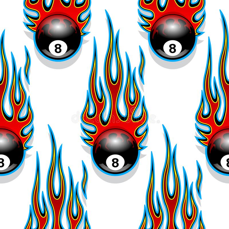 Free Seamless Pattern With Classic Tribal Hotrod Muscle Car Flames An Stock Photos - 106848893