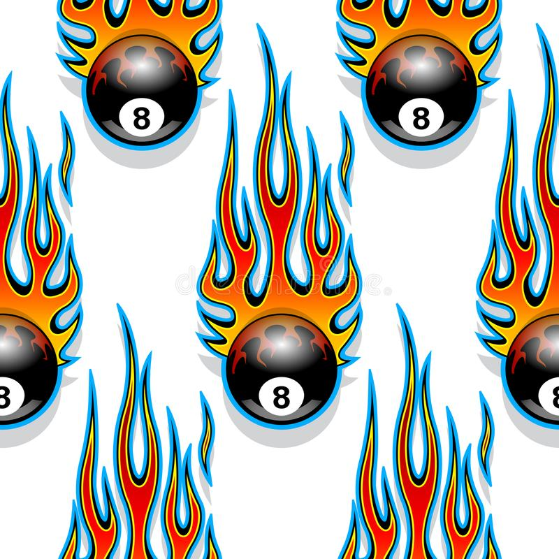 Free Seamless Pattern With Classic Tribal Hotrod Muscle Car Flames An Stock Photography - 106848932