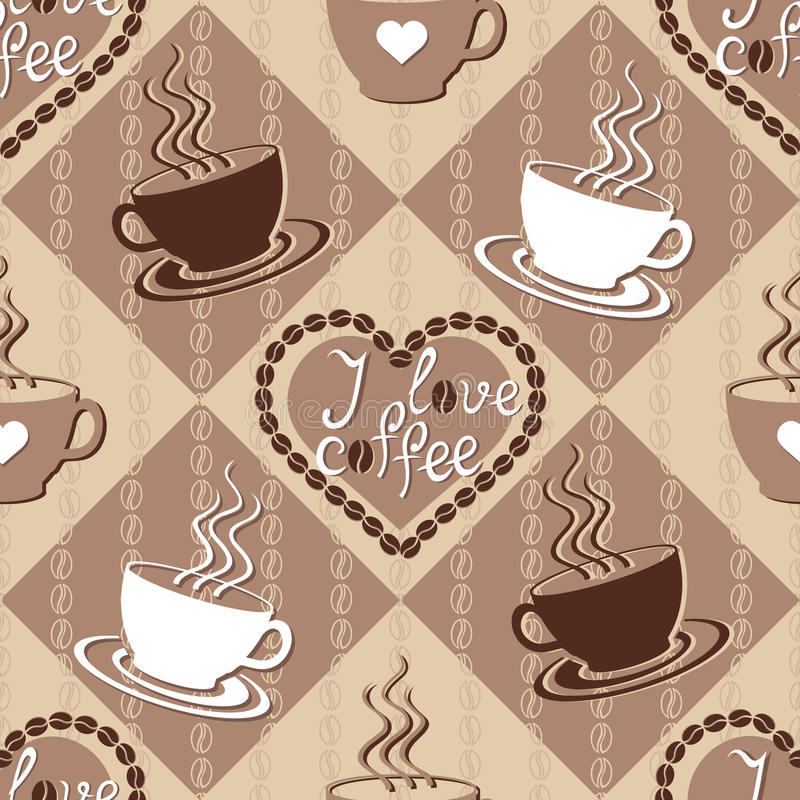 Free Seamless Pattern With Coffee Cups Royalty Free Stock Photography - 36767057