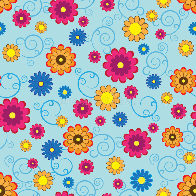 Free Seamless Pattern With Colorful Flowers Stock Image - 17574721