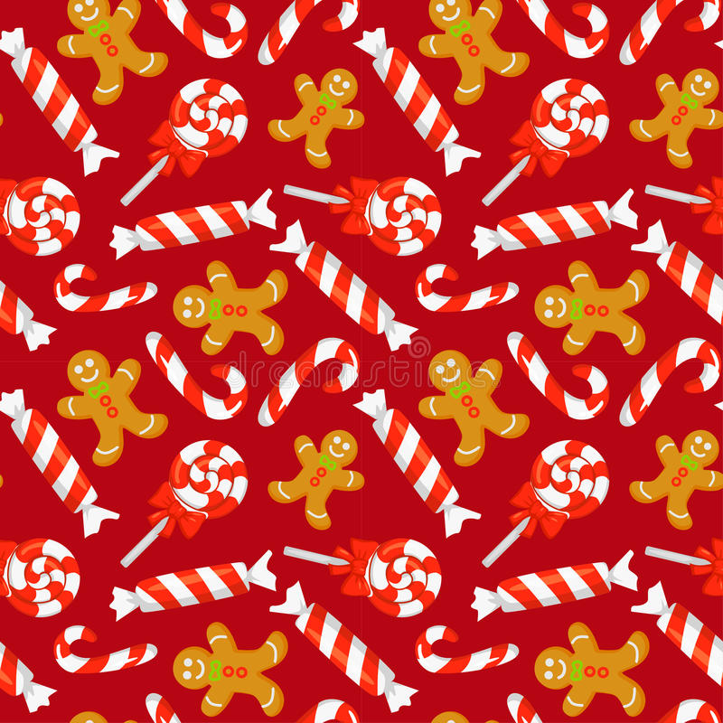 Free Seamless Pattern With Cute Cartoon Christmas Candy Cane, Sweets And Gingerbreads. New Year Traditional Symbols. Stock Photos - 80789323