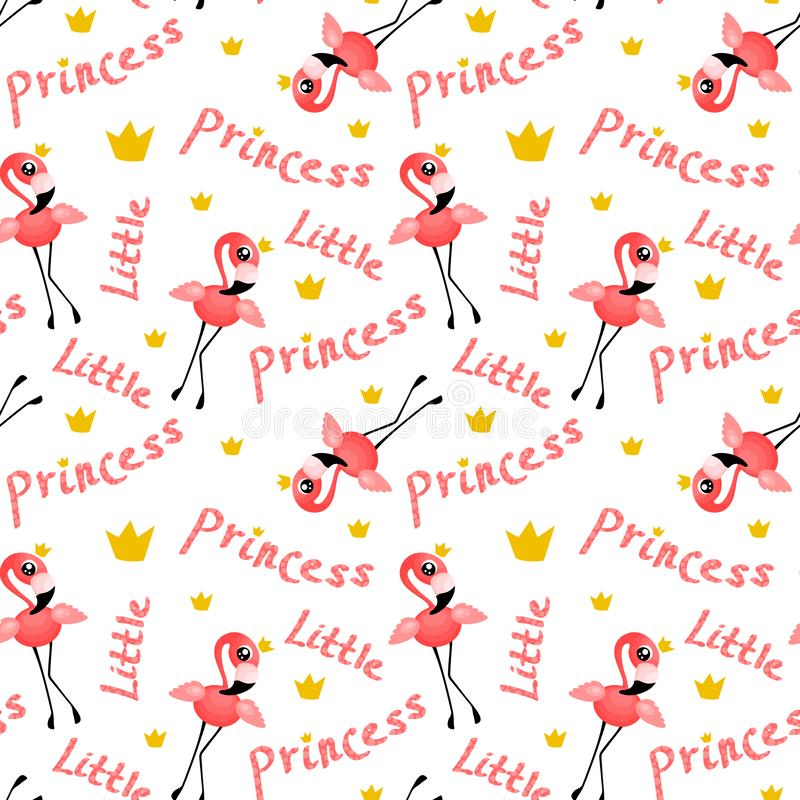 Free Seamless Pattern With Cute Flamingo Princess Royalty Free Stock Image - 159011026