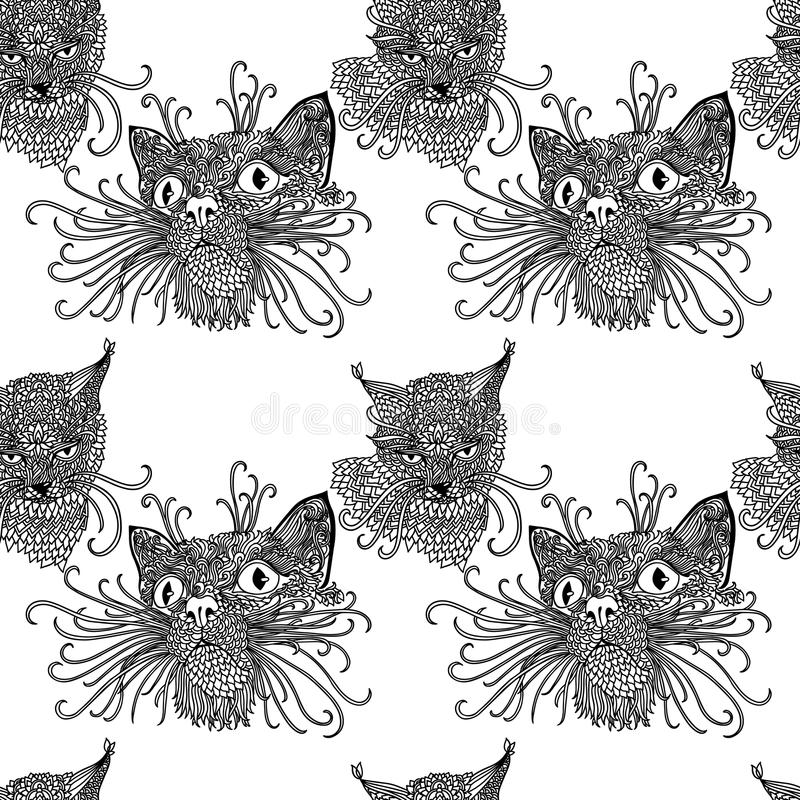 Free Seamless Pattern With Cute Kats. Cat Background In Mandala Style. Black And White Vector Illustration. Royalty Free Stock Images - 110422399