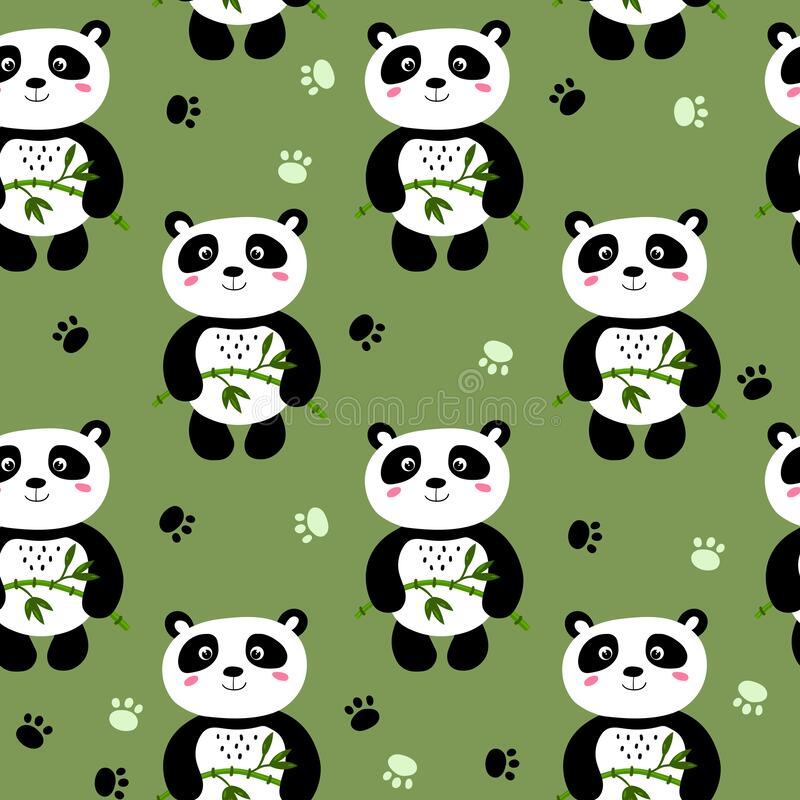 Free Seamless Pattern With Cute Panda Baby On Color Background. Funny Asian Animals. Card, Postcards For Kids. Flat Vector Stock Photography - 216313752