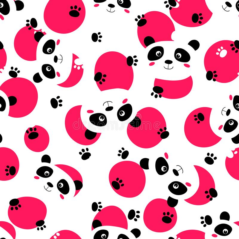 Free Seamless Pattern With Cute Panda Baby On White Background. Funny Asian Animals. Card, Postcards For Kids. Flat Vector Stock Image - 216313671