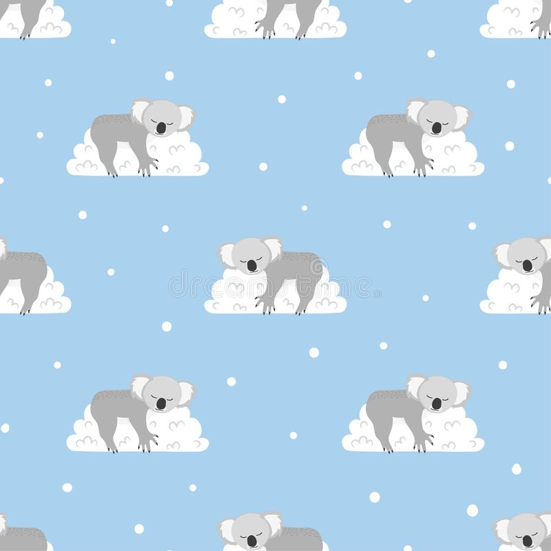 Free Seamless Pattern With Cute Sleeping Koala Bears On The Clouds. Stock Image - 112191331