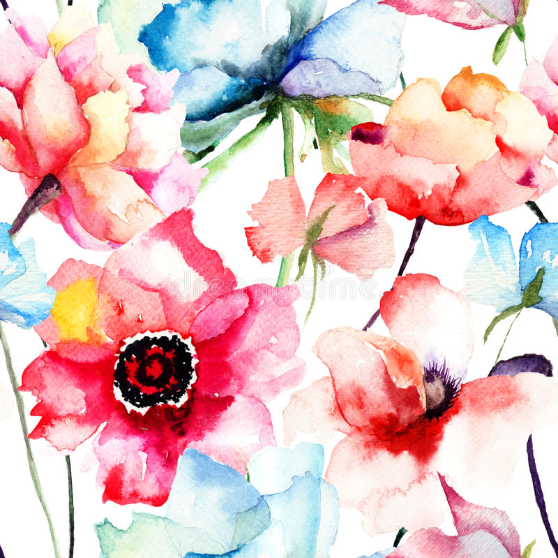 Free Seamless Pattern With Decorative Blue Flower Royalty Free Stock Photo - 34575535