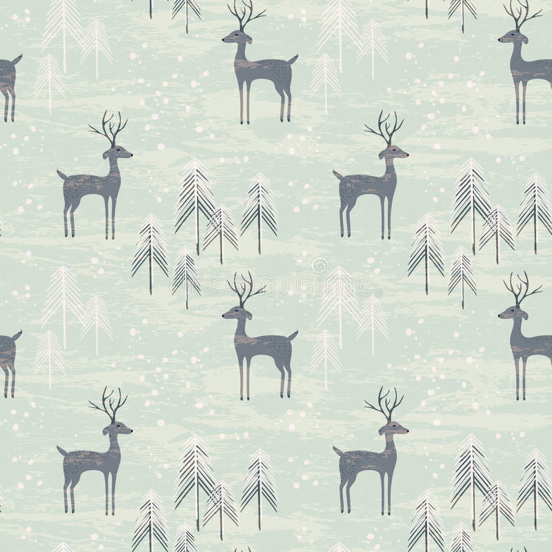 Free Seamless Pattern With Deer In Winter Forest Stock Image - 60864391