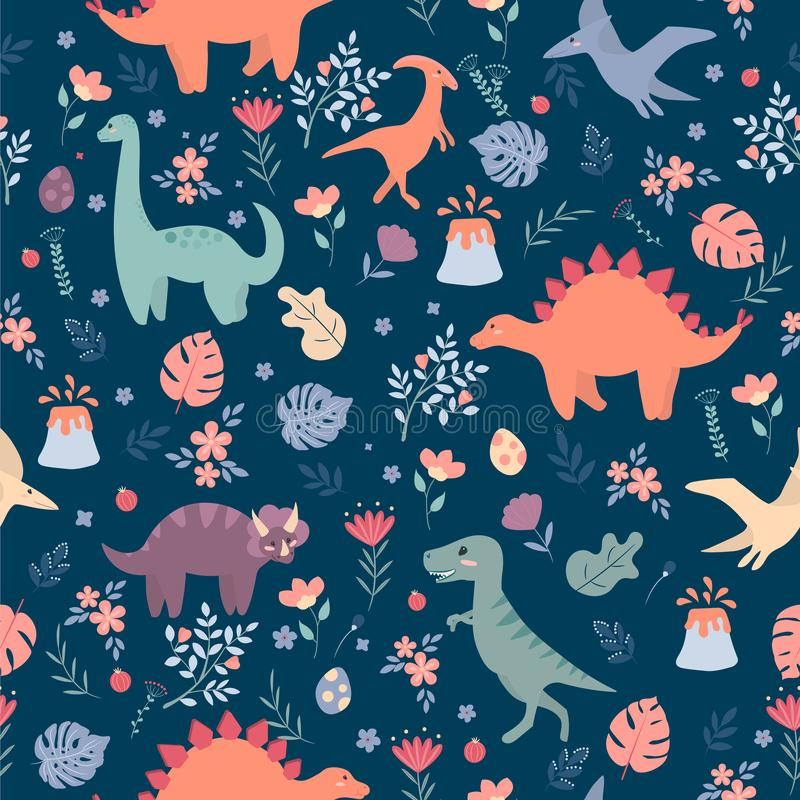 Free Seamless Pattern With Dinosaurs And Tropical Leaves And Flowers. Perfect For Kids Fabric, Textile, Wallpaper. Cute Dino Stock Images - 155054944