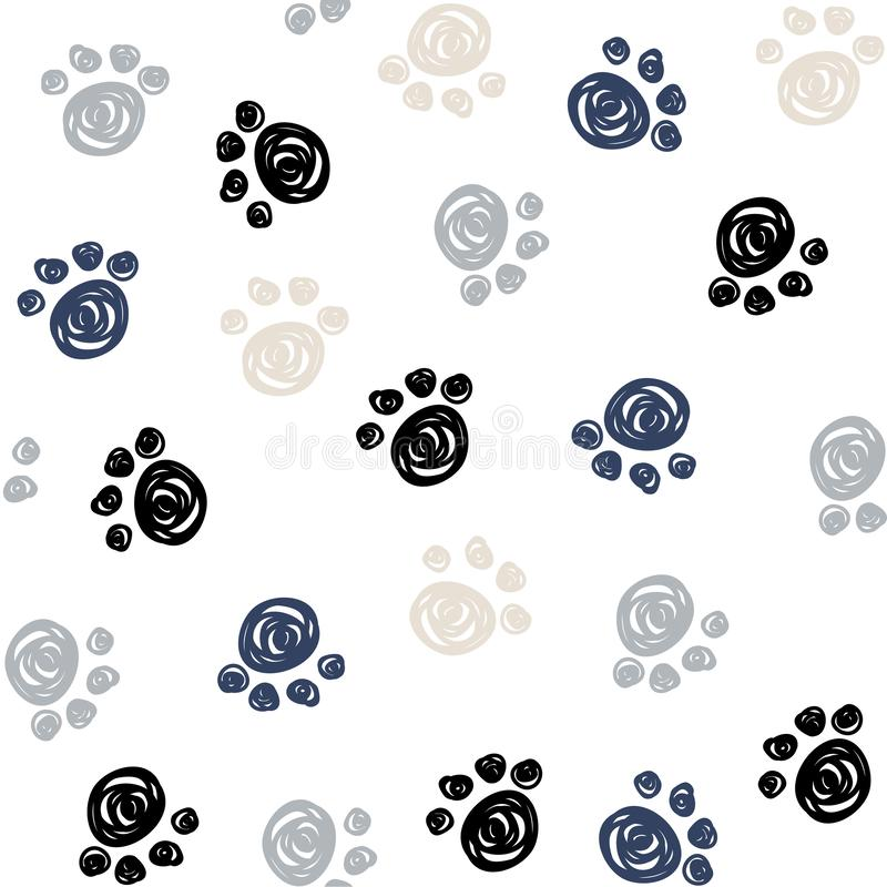 Free Seamless Pattern With Doodle Dog Paws. Black Color Animal Print. Vector Background. Royalty Free Stock Photo - 150525195